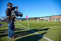 Cameraman Andrew Wiggins covers the Wellington traditional college rugby match between Silverstream and Wellington College at Silverstream, Wellington, New Zealand on Wednesday, 8 June 2016. Photo: Dave Lintott / lintottphoto.co.nz
