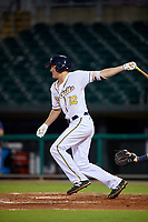 Montgomery Biscuits second baseman Michael Russell (12) follows through on a swing during a game against the Mississippi Braves on April 24, 2017 at Montgomery Riverwalk Stadium in Montgomery, Alabama.  Montgomery defeated Mississippi 3-2.  (Mike Janes/Four Seam Images)