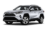Stock pictures of low aggressive front three quarter view of a 2019 Toyota RAV4 Limited 5 Door SUV