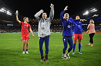 Saint Paul, MN - SEPTEMBER 03: Morgan Brian #6, Tobin Heath #17, Becky Sauerbrunn #4 and Christen Press #23 of the United States celebrate during their 2019 Victory Tour match versus Portugal at Allianz Field, on September 03, 2019 in Saint Paul, Minnesota.
