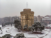Pictured: Snow in the area of the White Tower in Salonica, northern Greece. <br /> Re: Heavy snow has affected most areas of Greece.