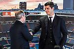 Real Madrid's president Florentino Perez and Alvaro Morata during the presentation of the player at the Santiago Bernabeu Stadium. August 15, 2016. (ALTERPHOTOS/Rodrigo Jimenez)