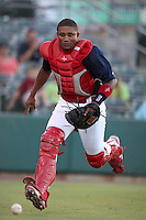 Palm Beach Cardinals catcher Luis De La Cruz #31 chases down a ball during a game against the Fort Myers Miracle at Roger Dean Stadium on June 21, 2011 in Jupiter, Florida.  Palm Beach defeated Fort Myers 5-0.  (Mike Janes/Four Seam Images)