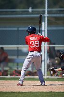Boston Red Sox Joseph Monge (39) bats during a minor league Spring Training game against the Baltimore Orioles on March 16, 2017 at the Buck O'Neil Baseball Complex in Sarasota, Florida. (Mike Janes/Four Seam Images)