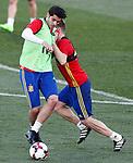 Spain's Alvaro Morata (l) and Asier Illarramendi during training session. March 20,2017.(ALTERPHOTOS/Acero)