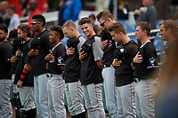 Batavia Muckdogs (L-R) Harrison DiNicola, Lorenzo Hampton, Nasim Nunez, Andrew Miller, Eli Villalobos, Sean Reynolds, Kobie Taylor, troy Johnston during the national anthem before a NY-Penn League game against the Auburn Doubledays on September 2, 2019 at Falcon Park in Auburn, New York.  Batavia defeated Auburn 7-0 to clinch the Pinckney Division Title.  (Mike Janes/Four Seam Images)