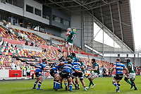 27th March 2021; Brentford Community Stadium, London, England; Gallagher Premiership Rugby, London Irish versus Bath; Rob Simmons of London Irish catches the ball from a line out
