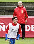 Spain's coach Vicente del Bosque and Hector Bellerin (l) during preparing training stage to Euro 2016. May 30,2016.(ALTERPHOTOS/Acero)