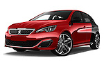 Stock pictures of low aggressive front three quarter view of 2016 Peugeot 308 GTI 5 Door Hatchback Low Aggressive