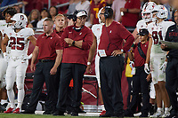 LOS ANGELES, CA - SEPTEMBER 11: Pete Alamar and Bobby Kennedy during a game between University of Southern California and Stanford Football at Los Angeles Memorial Coliseum on September 11, 2021 in Los Angeles, California.