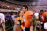 Sept. 3, 2011 - Charlottesville, Virginia - USA; Virginia Cavaliers quarterback Michael Rocco (16) hugs his mom after an NCAA football game against William & Mary at Scott Stadium. Virginia won 40-3. (Credit Image: © Andrew Shurtleff
