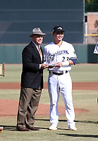AFL commissioner Steve Cobb presents the league MVP award to Keston Hiura of the Peoria Javelinas prior to the 2018 Arizona Fall League championship game won by the  Javelinas, 3-2 in 10 innings, over the Salt River Rafters at Scottsdale Stadium on November 17, 2018 in Scottsdale, Arizona (Bill Mitchell)