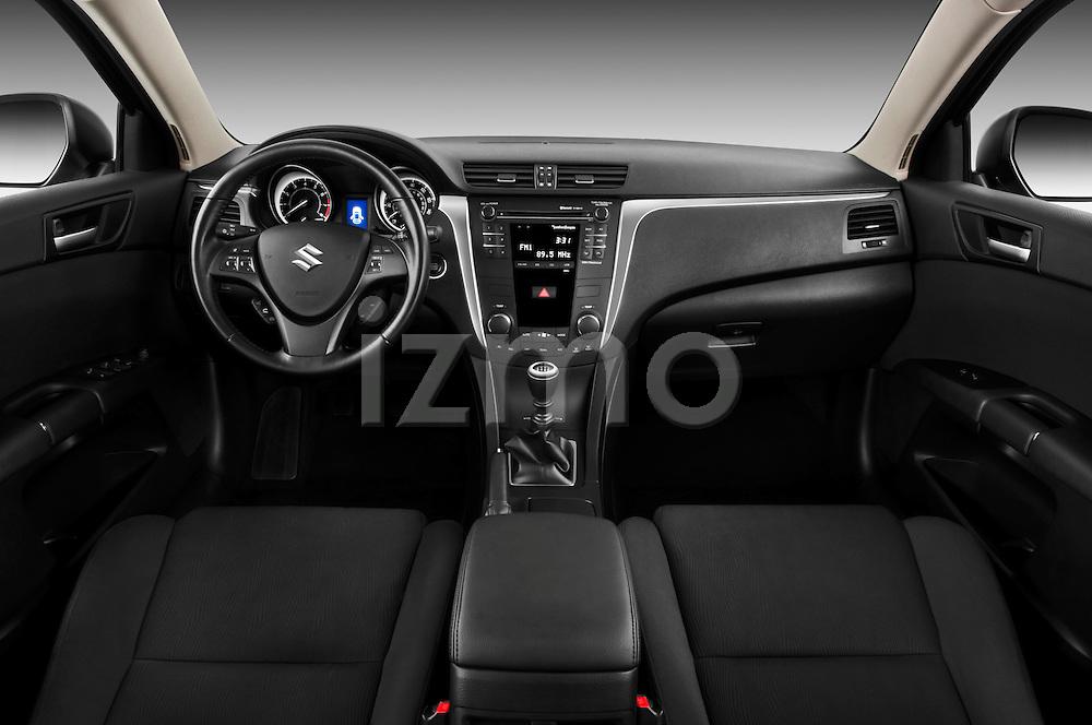 Straight dashboard view of a 2010 Suzuki Kizashi SLS.