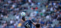 CARSON, CA - FEBRUARY 15: Joe Corona #15 of the Los Angeles Galaxy heads a ball during a game between Toronto FC and Los Angeles Galaxy at Dignity Health Sports Park on February 15, 2020 in Carson, California.