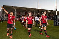 Sevu Reece, Mitchell Drummond and Braydon Ennor after winning the 2020 Super Rugby match between the Crusaders and Highlanders at Orangetheory Stadium in Christchurch, New Zealand on Saturday, 9 August 2020. Photo: Joe Johnson / lintottphoto.co.nz