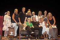 """Guiding Light's Michael O'Leary with his mom Sheila in green as he is the author of """"Breathing Under Dirt"""" poses with fans and cast - Meredith Taylor, Emma Gilliland, Jeff Smith, Grant Aleksander, Tina Sloan, Robert Forester, Cynthia Watros - full play - had its world premier on August 13 and 14, 2016 at the Ella Fitzgerald Performing Arts Center, University of Maryland Eastern Shore, Princess Anne, Maryland  (Photo by Sue Coflin/Max Photos)"""