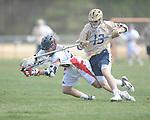 Ole MIss' Patrick Fulton (36) vs. Georgia Tech's Joseph Burton (13) in lacrosse at the Ole Miss Intramural Fields in Oxford, Miss. on Saturday, February 2, 2013. Georgia Tech won 8-5.
