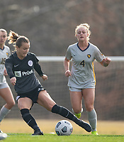 LOUISVILLE, KY - MARCH 13: Lauren Milliet #2 of Racing Louisville FC passes the ball during a game between West Virginia University and Racing Louisville FC at Thurman Hutchins Park on March 13, 2021 in Louisville, Kentucky.