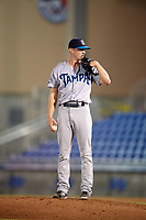 Tampa Tarpons relief pitcher Matt Frawley (48) during a game against the Dunedin Blue Jays on June 2, 2018 at Dunedin Stadium in Dunedin, Florida.  Dunedin defeated Tampa 4-0.  (Mike Janes/Four Seam Images)