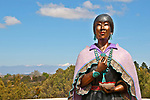 "Sculpture garden at Museum Hill in Santa Fe, New Mexico; sculpture by Estella Lorretto called ""Morning Prayer"""