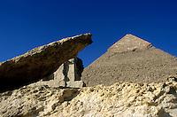 View of The Khephren Pyramid, Giza, Cairo, Egypt.