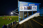 Stocksbridge attack in front of the Jamie Vardy Stand in added time. Stocksbridge Park Steels v Pickering Town,  Evo-Stik East Division, 17th November 2018. Stocksbridge Park Steels were born from the works team of the local British Steel plant that dominates the town north of Sheffield.<br /> Having missed out on promotion via the play offs in the previous season, Stocksbridge were hovering above the relegation zone in Northern Premier League Division One East, as they lost 0-2 to Pickering Town. Stocksbridge finished the season in 13th place.
