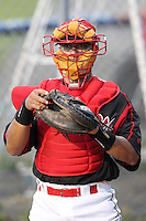 Batavia Muckdogs catcher Roberto Espinoza (41) during a game vs. the Lowell Spinners at Dwyer Stadium in Batavia, New York July 14, 2010.   Batavia defeated Lowell 12-2.  Photo By Mike Janes/Four Seam Images