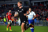 New Zealand's George Bridge scores to bring the score to 100-0 during the Steinlager Series rugby match between the New Zealand All Blacks and Tonga at Mt Smart Stadium in Auckland, New Zealand on Saturday, 3 July 2021. Photo: Dave Lintott / lintottphoto.co.nz