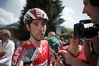 Thomas De Gendt (BEL/Lotto-Soudal) interviewed after finishing and leading the standings thus far...<br /> <br /> Stage 18 (ITT) - Sallanches › Megève (17km)<br /> 103rd Tour de France 2016