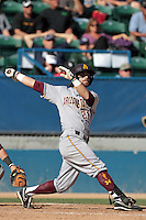 Andrew Aplin #21 of the Arizona State Sun Devils bats against the Long Beach State Dirtbags at Blair Field on March 11, 2012 in Long Beach,California. Arizona State defeated Long Beach State 6-1.(Larry Goren/Four Seam Images)