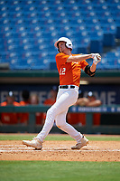Max McGwire (12) of Capistrano Valley High School in Irvine, CA during the Perfect Game National Showcase at Hoover Metropolitan Stadium on June 20, 2020 in Hoover, Alabama. (Mike Janes/Four Seam Images)