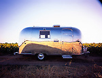 1964 Airstream Globe Trotter sitting in front of a field of sunflowers.