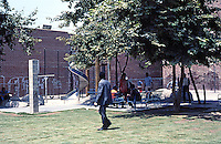 Los Angeles: Skid Row Park--play area from edge of park, sidewalk. Photo '86.