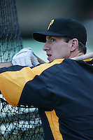 Josh Phelps of the Pittsburgh Pirates during batting practice before a game against the Los Angeles Angels in a 2007 MLB season game at Angel Stadium in Anaheim, California. (Larry Goren/Four Seam Images)