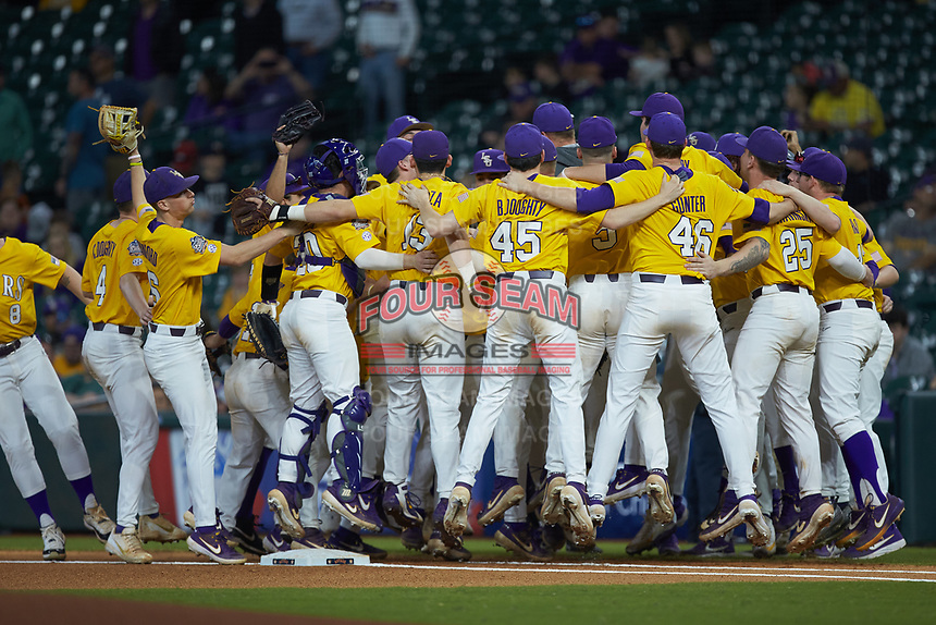 The LSU Tigers huddle up prior to the game against the Oklahoma Sooners in game seven of the 2020 Shriners Hospitals for Children College Classic at Minute Maid Park on March 1, 2020 in Houston, Texas. The Sooners defeated the Tigers 1-0. (Brian Westerholt/Four Seam Images)