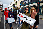 Killarney shops in High Street who are holding a give back to the locals giveaway competition on line front  Grainne and Maria O'Sullivan back l-r: Denis Cronin,  Valarie Coleman, Tara Louise Collins, Niall O'Sullivan