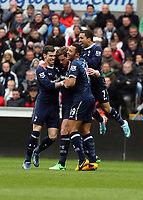 Pictured: Jan Vertonghen of Tottenham (2nd L)celebrating his opening goal with team mates L-R Gareth Bale, Mousa Dembele and Aaron Lennon.  Saturday 30 March 2013<br /> Re: Barclay's Premier League, Swansea City FC v Tottenham Hotspur at the Liberty Stadium, south Wales.