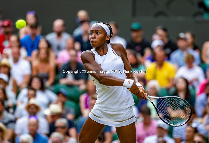 London, England, 5 July, 2019, Tennis,  Wimbledon, Womans single: Cori Grauff (USA)<br /> Photo: Henk Koster/tennisimages.com