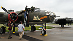 Day one of the B-25 Gathering at Grimes Field in Urbana, Ohio. Rain hampered activites and arrivals but a crowd turned out to see the early arrivals from Friday.