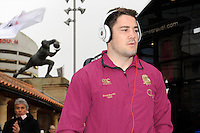 Brad Barritt of England steps off the team bus before the RBS 6 Nations match between England and France at Twickenham on Saturday 23rd February 2013 (Photo by Rob Munro)