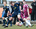 Alloa's Stephen Simmons is bundled off the ball by Albion's Conor Stevenson.