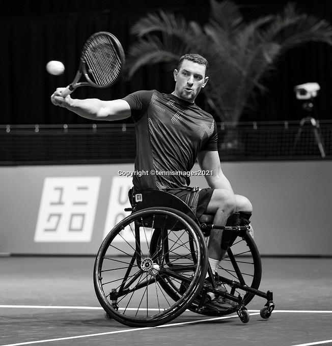 Rotterdam, The Netherlands, 5 march  2021, ABNAMRO World Tennis Tournament, Ahoy,  Quater final wheelchair: Joachim Gerard (BEL).<br /> Photo: www.tennisimages.com/henkkoster