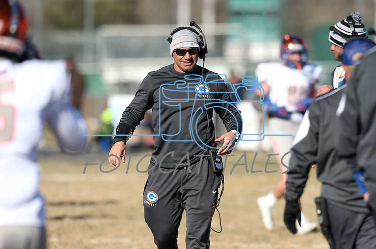Bishop Gorman Head Coach Kenny Sanchez works the sidelines of an NIAA Division I playoff game against Reed, at Reed High School in Sparks, Nev., on Saturday, Nov. 28, 2015. Bishop Gorman won 41-13. (Cathleen Allison/Las Vegas Review-Journal)