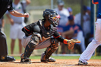 Miami Marlins catcher Pablo Garcia (5) during an Instructional League game against the New York Mets on September 29, 2016 at the Port St. Lucie Training Complex in Port St. Lucie, Florida.  (Mike Janes/Four Seam Images)