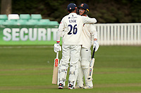 Sir Alastair Cook of Essex celebrates scoring a century of runs by cuddling Tom Westley during Worcestershire CCC vs Essex CCC, LV Insurance County Championship Group 1 Cricket at New Road on 29th April 2021