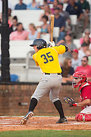 John Bormann (35) of the Bristol Pirates at bat against the Johnson City Cardinals at Howard Johnson Field at Cardinal Park on July 6, 2015 in Johnson City, Tennessee.  The Cardinals defeated the Pirates 8-2 in game two of a double-header. (Brian Westerholt/Four Seam Images)