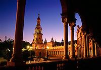Plaza de Espana at twilight Seville Spain.