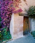 Side entrance door to Mission San Carlos Borromeo de Carmelo, at Carmel, California