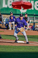 Grant Lavigne (40) of the Grand Junction Rockies on defense during a game against the Ogden Raptors at Lindquist Field on September 7, 2018 in Ogden, Utah. The Rockies defeated the Raptors 8-5. (Stephen Smith/Four Seam Images)