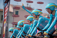 Fabio Aru (ITA/Astana) greeting the crowd from the TTT start podium<br /> <br /> 2015 Giro<br /> startzone of stage 1: San Lorenzo Al Mare - San remo (TTT/17.6km)